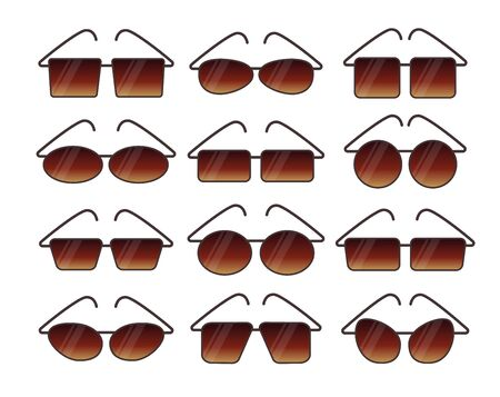 Vector illustration of summer frameless sunglasses. Flat icon set. Various shapes of sun protection rimless eyeglasses. Isolated objects on white background Stock Illustratie