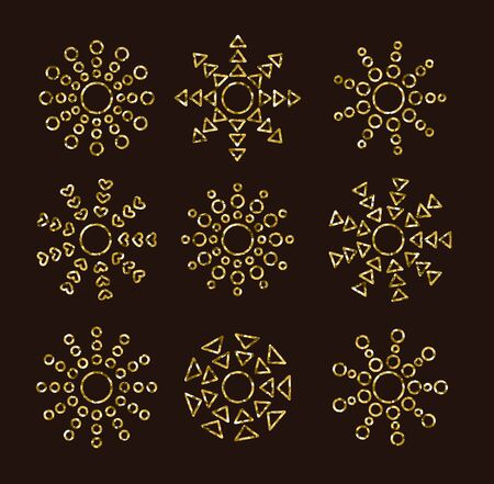 Golden sun icons with rays from circles, triangles. Gold summer symbols with mosaic texture. Line sunlight signs isolated on dark background.
