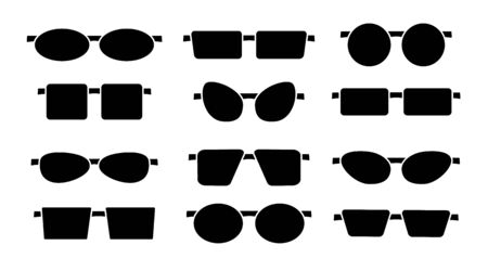 Vector illustration of frameless glasses. Flat icon set of reading rimless eyeglasses. Sunglasses. Isolated objects on white background Stock Illustratie