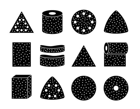 Sandpaper sheets, discs, rolls, triangles. Black and white vector illustration of sanding abrasive paper. Flat icon set of glasspaper. Isolated objects Stock Illustratie