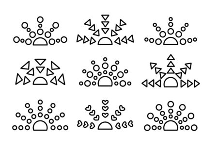 Black & white sunrise  sunset symbol collection. Thin line icon set. Morning, evening sunlight signs. Isolated objects. Vector illustration