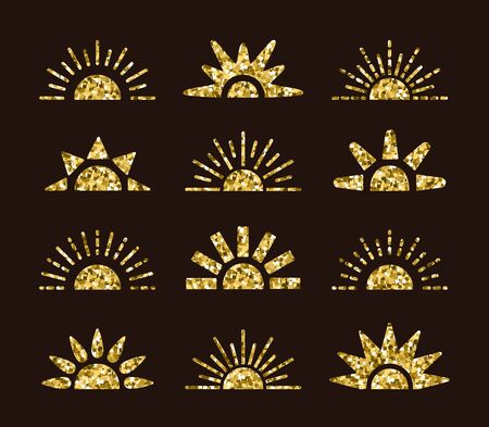 Golden sunrise sunset symbol collection with mosaic texture. Flat vector icons. Morning, evening gold sunlight signs. Isolated objects on dark background Stock Illustratie