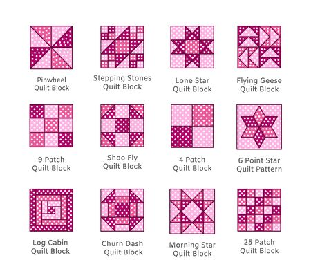 Quilt sewing pattern. Log cabin, pinwheel tiles. Quilting   patchwork fabric blocks with polka dot. Vector flat pink icon set. Isolated objects on white background