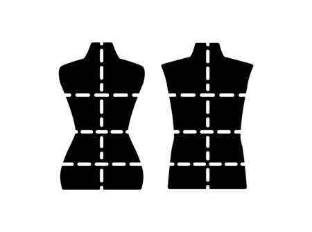 Male and  female dressmaking mannequin with sewing markings. Sign of tailor dummy. Display body, torso. Professional dress form. Flat icon. Stock Illustratie