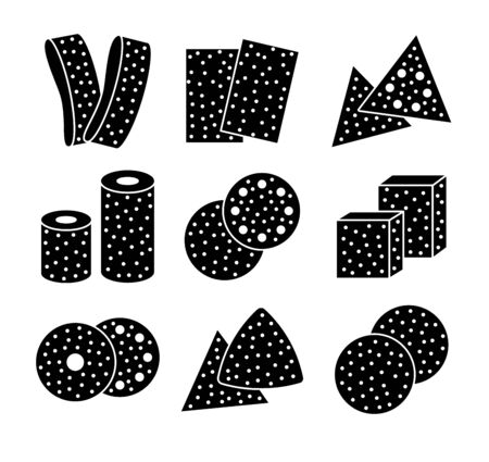 Sandpaper sheets, discs, rolls, triangles. Black & white vector illustration of sanding abrasive paper. Flat icon set of glasspaper. Isolated objects