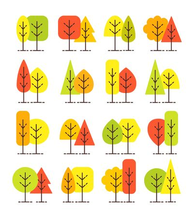 Simple geometric tree symbols. Flat icon set of autumn forest plants. Natural park & garden signs. Isolated object on white background