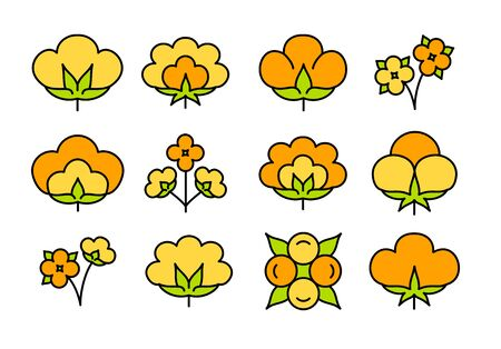 Cotton flower & ball. Symbol of natural eco organic textile, fabric. Line flat icon set on white background. Colorful vector illustration Stock Illustratie