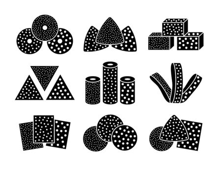 Sandpaper sheets, discs, rolls, triangles. Black and white vector illustration of sanding abrasive paper.