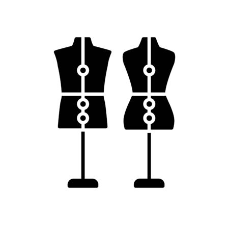 Male and female dressmaking adjustable mannequin with base stand. Sign of tailor dummy. Display body, torso. Professional dress form. Flat icon.