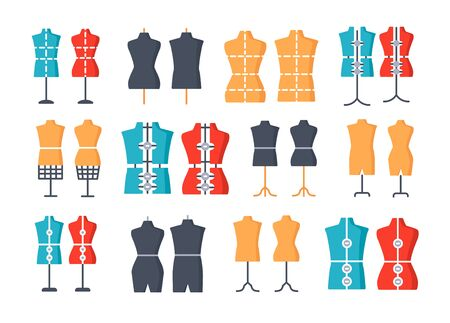 Male and female dressmaking mannequin. Signs of tailor dummy. Display bust, torso. Adjustable dress form. Flat icon set. Vector illustration. Isolated objects
