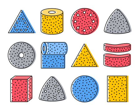 Sandpaper sheets, discs, rolls, triangles. Colorful vector illustration of sanding abrasive paper. Flat line icon set of glasspaper. Isolated objects on white background