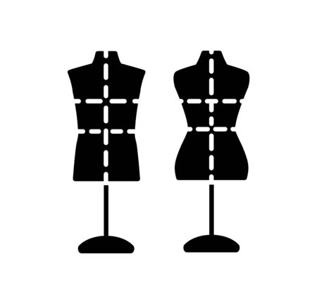 Male and female dressmaking mannequin with base stand & sewing markings. Sign of tailor dummy. Display model, body. Professional dress form. Flat icon.