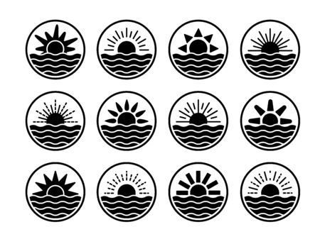 Sunrise over sea, ocean. Sunset over lake, river. Summer round labels, emblems with sun and waves. Stock Illustratie