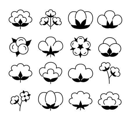 Cotton flower & ball. Flat line icon set. Symbol & logo for natural eco organic textile, fabric. Isolated objects. Black & white vector illustration. Stock Illustratie