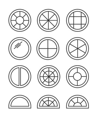 Round & circle window. Casement & awning window frames. Line icon set. Vector illustration. Isolated objects on white background