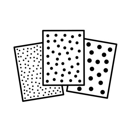 Sandpaper line icon. Black & white illustration of sanding abrasive paper. Glasspaper sheet with grain texture. Isolated object