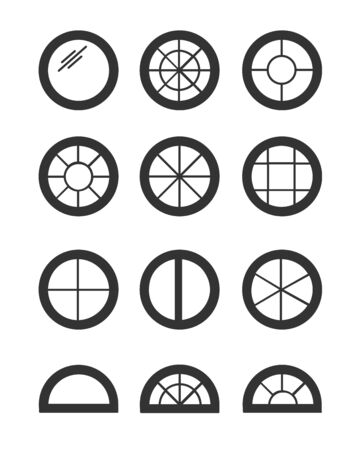 Round & circle window. Casement & awning window frames. Flat icon set. Vector illustration. Isolated objects on white background