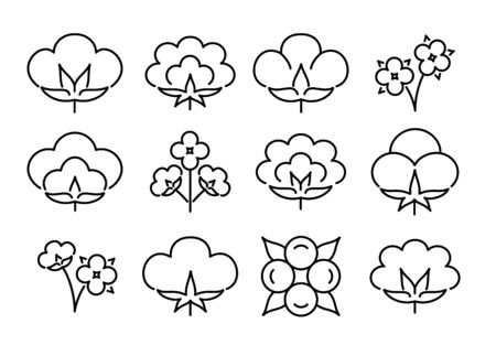 Cotton flower & ball. Line icon set. Symbol & logo for natural eco organic textile, fabric. Isolated objects. Black & white vector illustration. Stock Illustratie