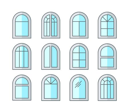 Arched & arch window. Casement & awning window frames. Flat line icon set. Vector illustration. Isolated objects on white background