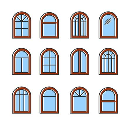 Arched & arc wooden window. Casement & awning window frames. Flat line icon set. Vector illustration. Isolated objects on white background