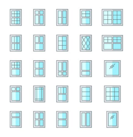 Casement & awning windows. Architecture elements. Flat icons isolated on white background. Traditional & french window frames