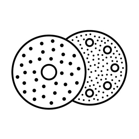 Sandpaper disc line icon. Black & white illustration of sanding abrasive paper with holes. Round glasspaper pads. Isolated objects