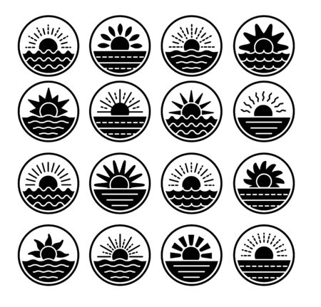 Sunrise over sea, ocean. Sunset over lake, river. Summer round labels, emblems with sun & waves. Set of flat symbols, signs for travel & tourism. Black & white vector illustration
