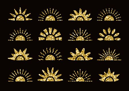 Golden glitter sunrise & sunset symbol collection with foil mosaic texture. Flat vector icons. Morning, evening gold sunlight signs. Isolated objects on dark background