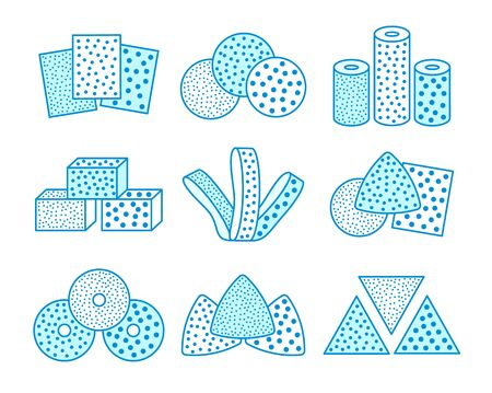 Sandpaper sheets, discs, rolls, triangles. Blue vector illustration of sanding abrasive paper. Line flat icon set of glasspapers with assorted grit texture. Isolated objects Stock Illustratie