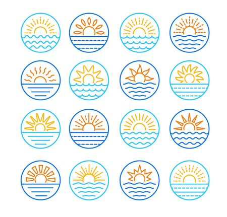 Sunrise over sea. Sunset over ocean. Summer round labels, emblems with sun & waves. Set of line symbols, signs for travel & tourism. Colorful vector illustration