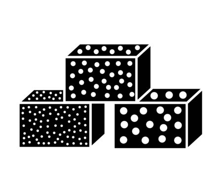 Sandpaper sponge flat icon. Black & white illustration of sanding abrasive paper. Glasspaper blocks with grain texture. Isolated object