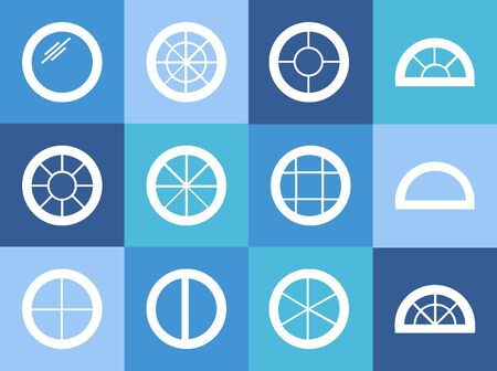 Round & circle window. Casement & awning window frames. White flat icon set. Vector illustration. Isolated objects Stock Illustratie