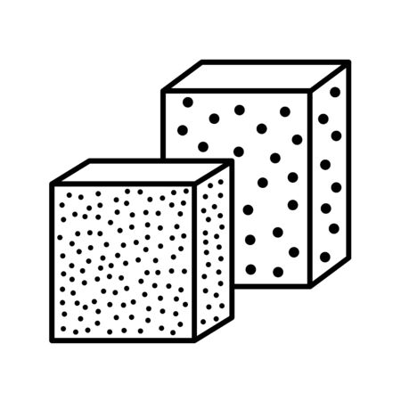 Sandpaper sponge line icon. Black & white illustration of sanding abrasive paper. Glasspaper with grain texture. Isolated object