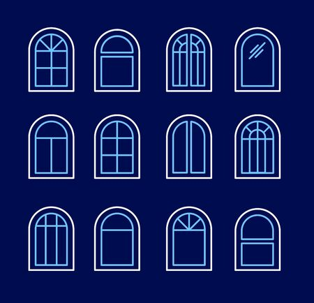Arched & arch window. Casement & awning window frames. Line icon set. Vector illustration. Isolated objects on dark background
