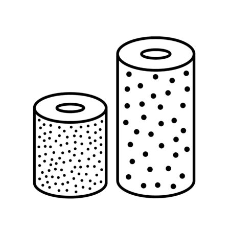 Sandpaper roll line icon. Black & white illustration of sanding abrasive paper. Glasspaper flexible cloth with grain texture. Isolated object