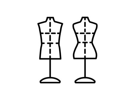 Male & female dressmaking mannequin with base stand & sewing markings. Sign of tailor dummy. Display model, body. Professional dress form. Line icon. Black & white vector illustration Stock Illustratie