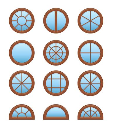 Round & circle wooden window. Casement & awning window frames. Flat icon set. Vector illustration. Isolated objects on white background Stock Illustratie