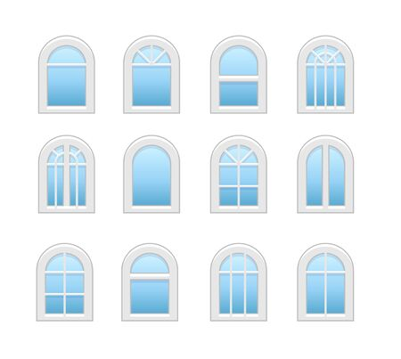 Arched & arch window. Casement & awning window frames. Flat icon set. Vector illustration. Isolated objects on white background