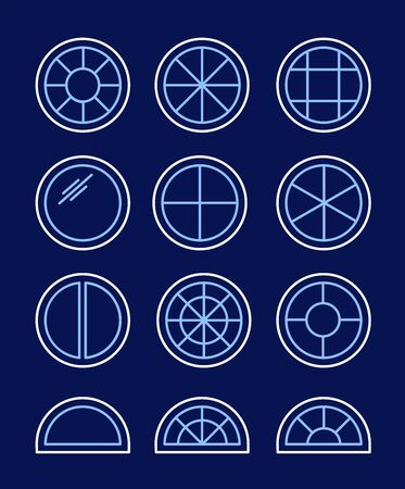 Round & circle window. Casement & awning window frames. Line icon set. Vector illustration. Isolated objects on dark background
