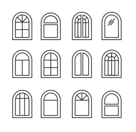 Arched & arch window. Casement & awning window frames. Line icon set. Vector illustration. Isolated objects on white background