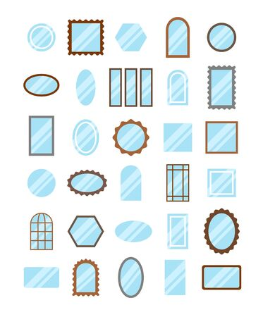 Round, oval & rectangular mirrors with light reflection. Flat icon set. Framed, vanity, LED lighted & window pane antique mirrors. Interior décor elements. Isolated objects on white background
