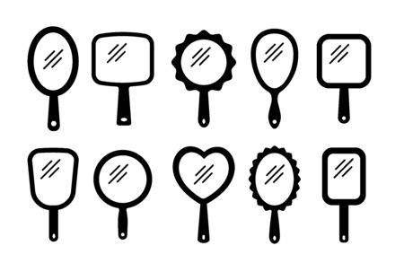 Handspiegel mit Lichtreflexion. Leere Handschminkspiegel. Flache Silhouette-Icon-Set. Weibliche Schönheitsaccessoires. Isolierte Objekte auf weißem Hintergrund Vektorgrafik