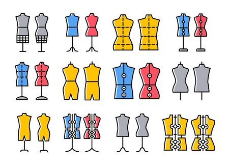 Male & female dressmaking mannequin. Signs of tailor dummy. Display bust, torso. Adjustable dress form. Line flat colorful icon set. Vector illustration