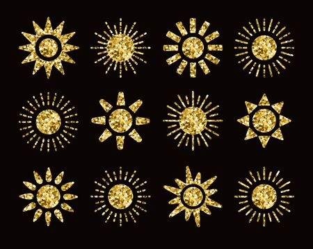Golden glitter sun icons with different rays. Gold summer symbols with foil mosaic texture. Flat sunlight signs isolated on dark background. Vector illustration.