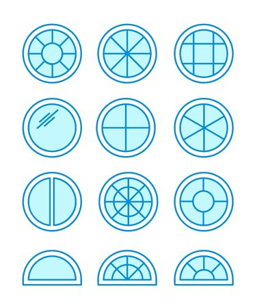 Round & circle window. Casement & awning window frames. Flat line icon set. Vector illustration. Isolated objects on white background Stockfoto - 129392158