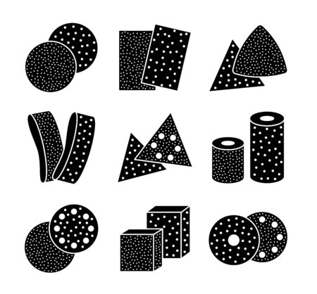 Sandpaper sheets, discs, rolls, triangles. Black & white vector illustration of sanding abrasive paper. Flat icon set of glasspapers with assorted grit texture. Isolated objects