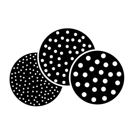 Sandpaper disc flat icon. Black & white illustration of sanding abrasive paper. Round glasspaper pads with grain texture. Isolated object Illustration