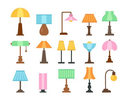 Table lamps. Flat icon set. Light fixtures. Home & office lighting. Interior design elements. Vector illustration. Isolated objects on white background