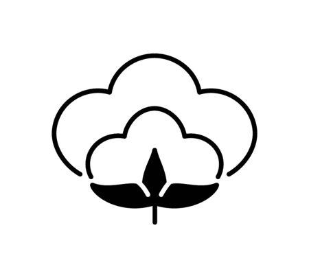 Cotton flower & ball. Symbol, logo of natural eco organic textile, fabric. Flat line icon isolated on white background. Vector illustration Illustration