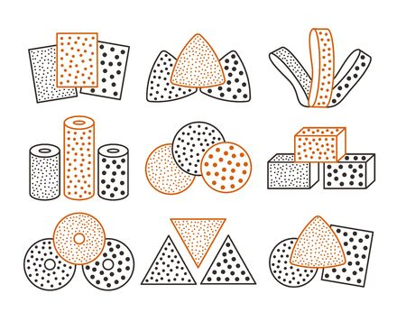Sandpaper sheets, discs, rolls, triangles. Vector illustration of sanding abrasive paper. Colorful line icon set of glasspapers with assorted grit texture. Isolated objects